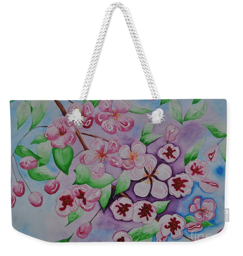 Pink Weekender Tote Bag featuring the painting Apple Blossoms by Sally Rice