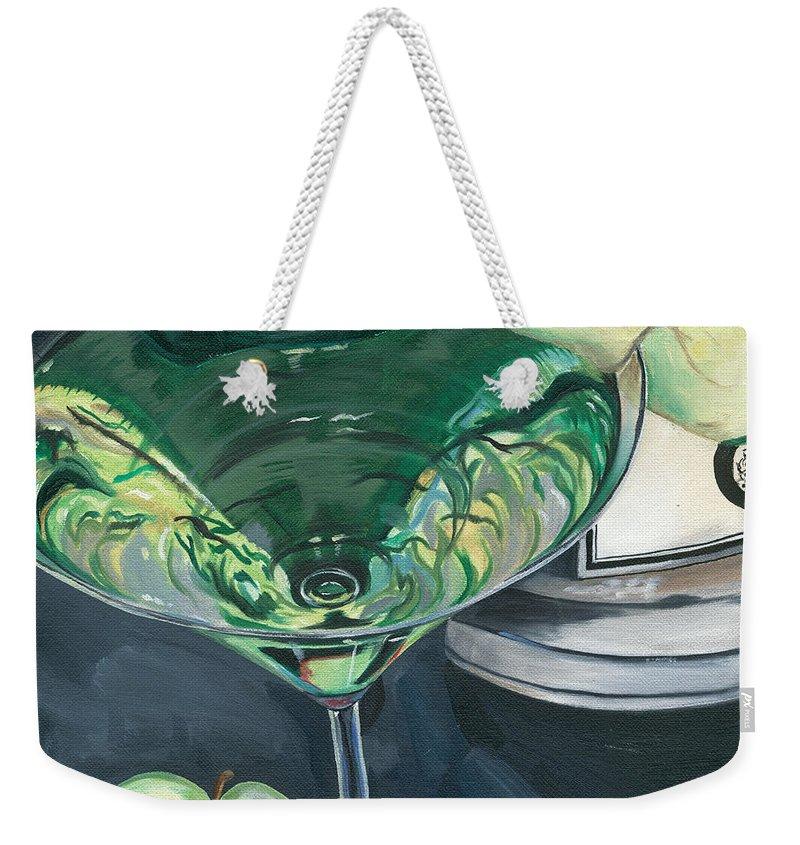Apple Weekender Tote Bag featuring the painting Apple Martini by Debbie DeWitt