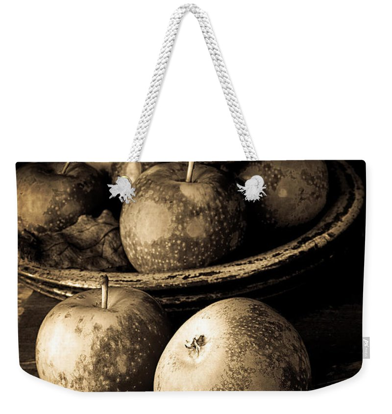 Fruit Weekender Tote Bag featuring the photograph Apple Still Life Black And White by Edward Fielding