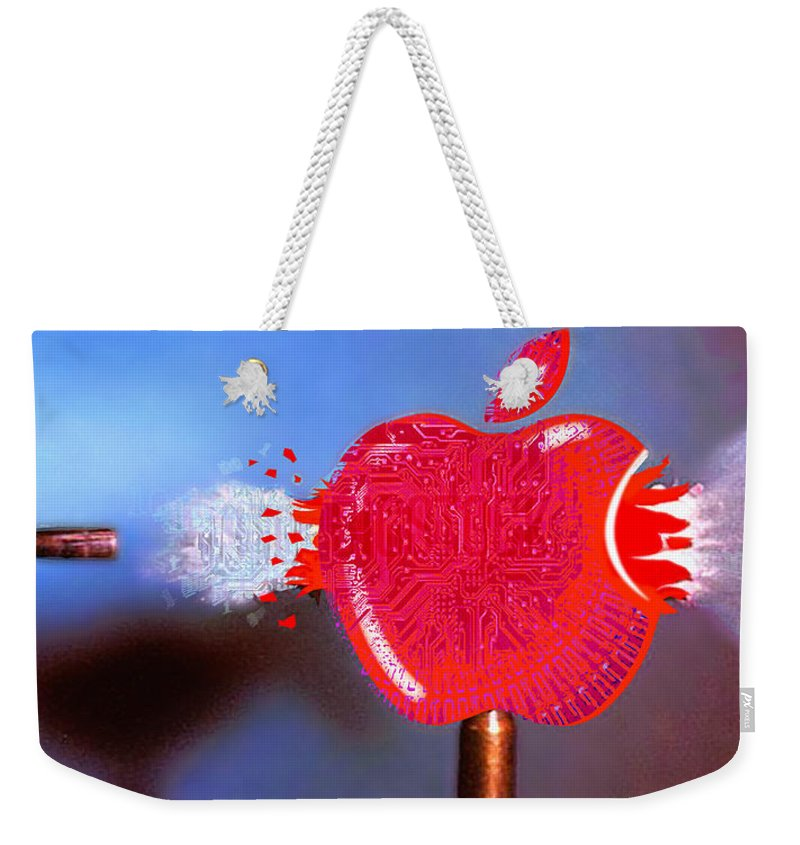 Apple Computers Weekender Tote Bag featuring the painting Apple by Tony Rubino
