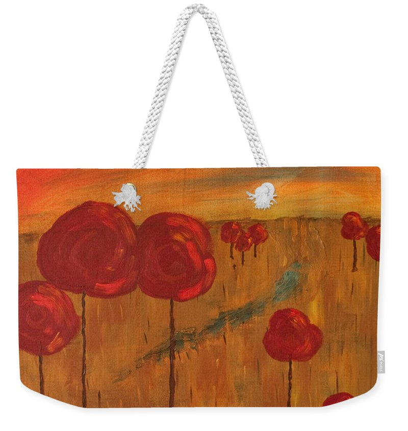 Wright Weekender Tote Bag featuring the painting Appletrees by Paulette B Wright