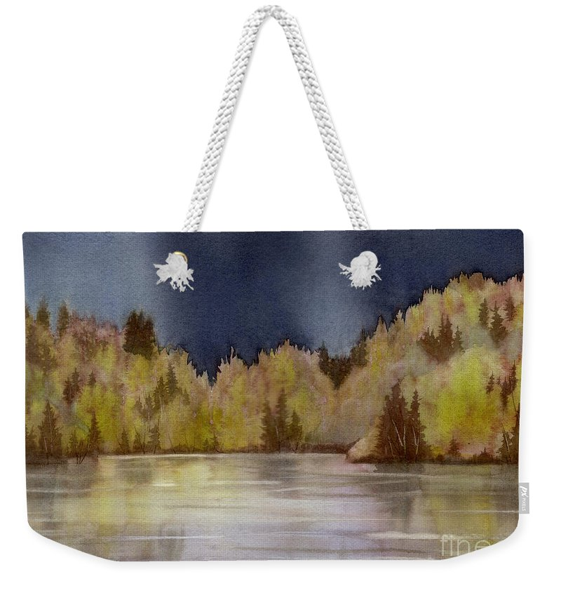 Storm Weekender Tote Bag featuring the painting Approaching Rain by Lynn Quinn