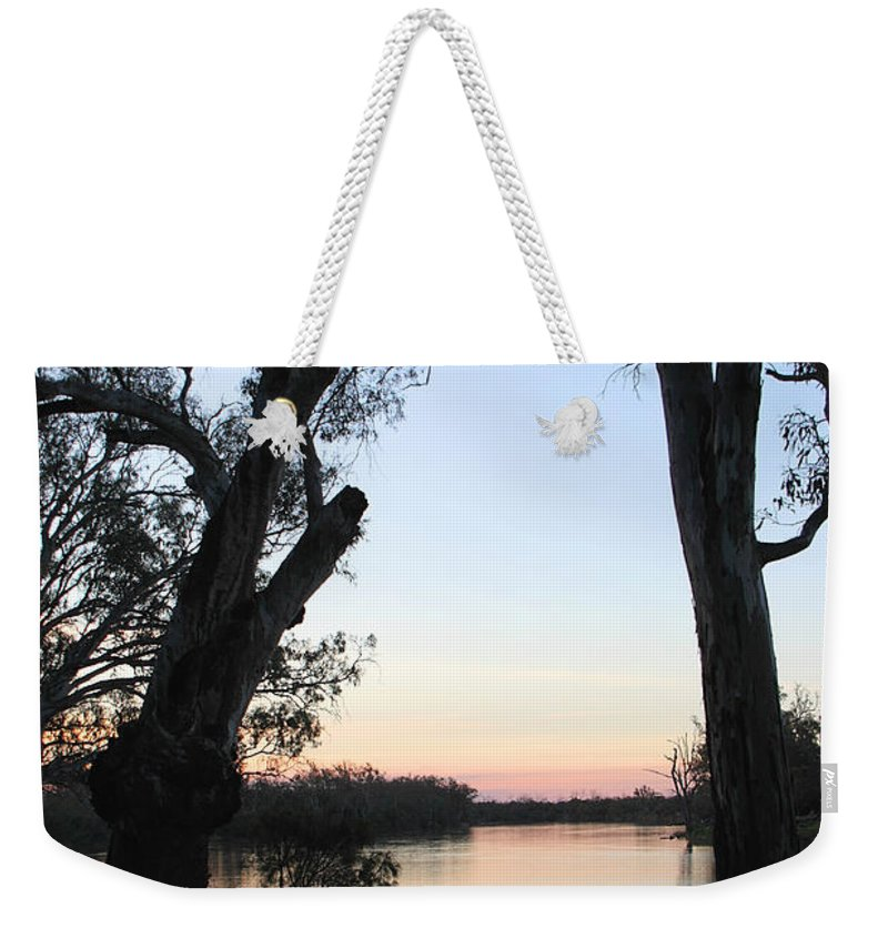 River Murray Sunset Weekender Tote Bag featuring the photograph Approaching Sunset Silhouettes by Carole-Anne Fooks