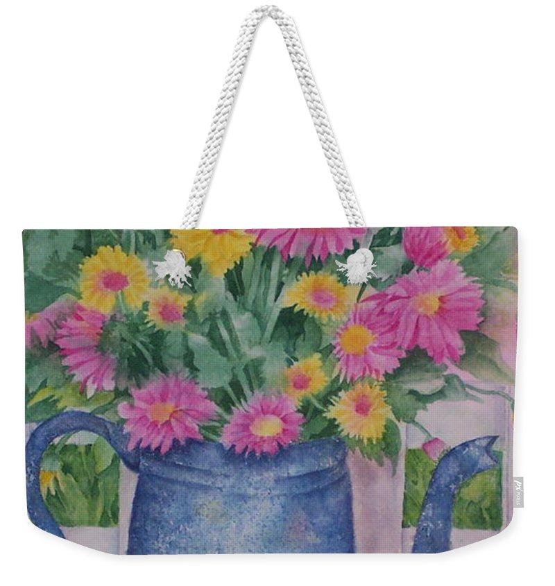 Flower Weekender Tote Bag featuring the painting April Showers Bring by Rhonda Leonard