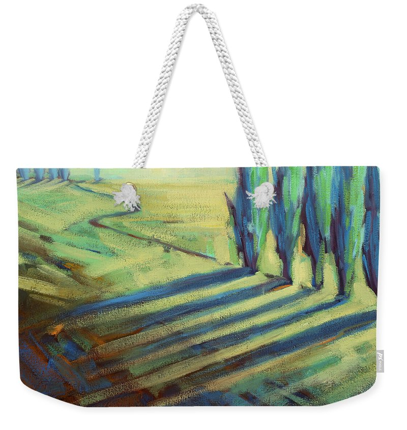 California Weekender Tote Bag featuring the painting Aqua by Konnie Kim