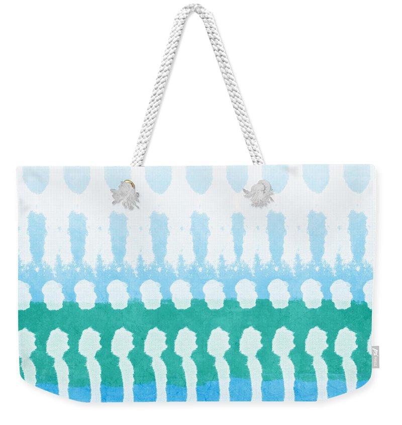 Aqua Weekender Tote Bag featuring the painting Aqua by Linda Woods