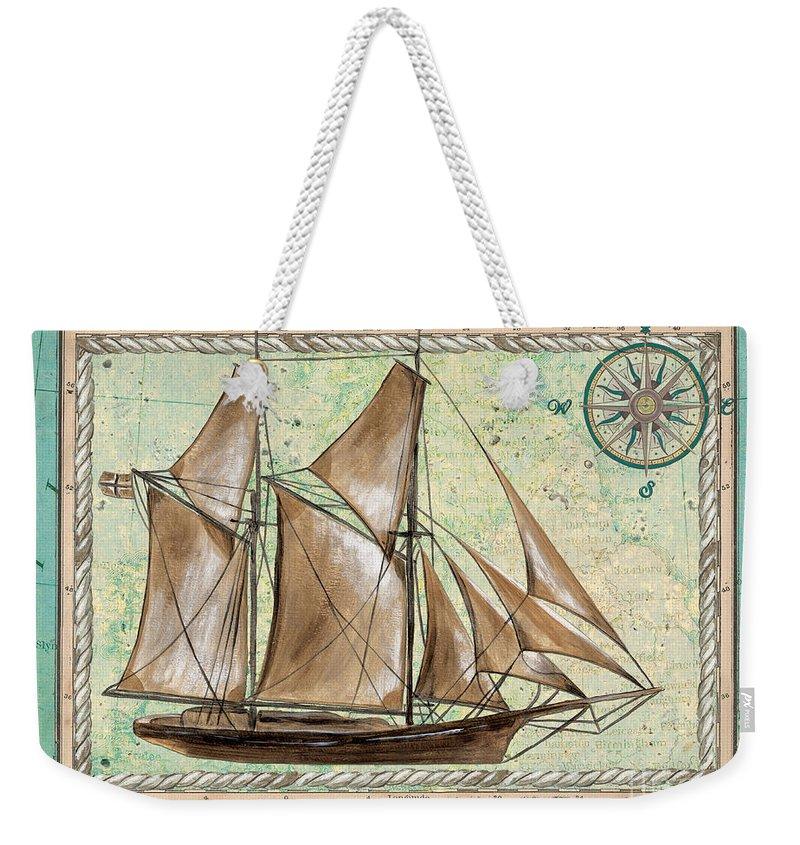 Aqua Weekender Tote Bag featuring the painting Aqua Maritime 2 by Debbie DeWitt