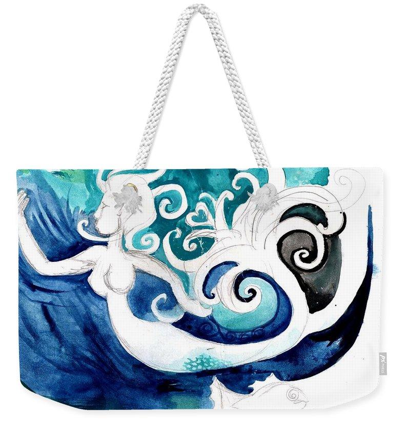 Mermaid Weekender Tote Bag featuring the painting Aqua Mermaid by Genevieve Esson