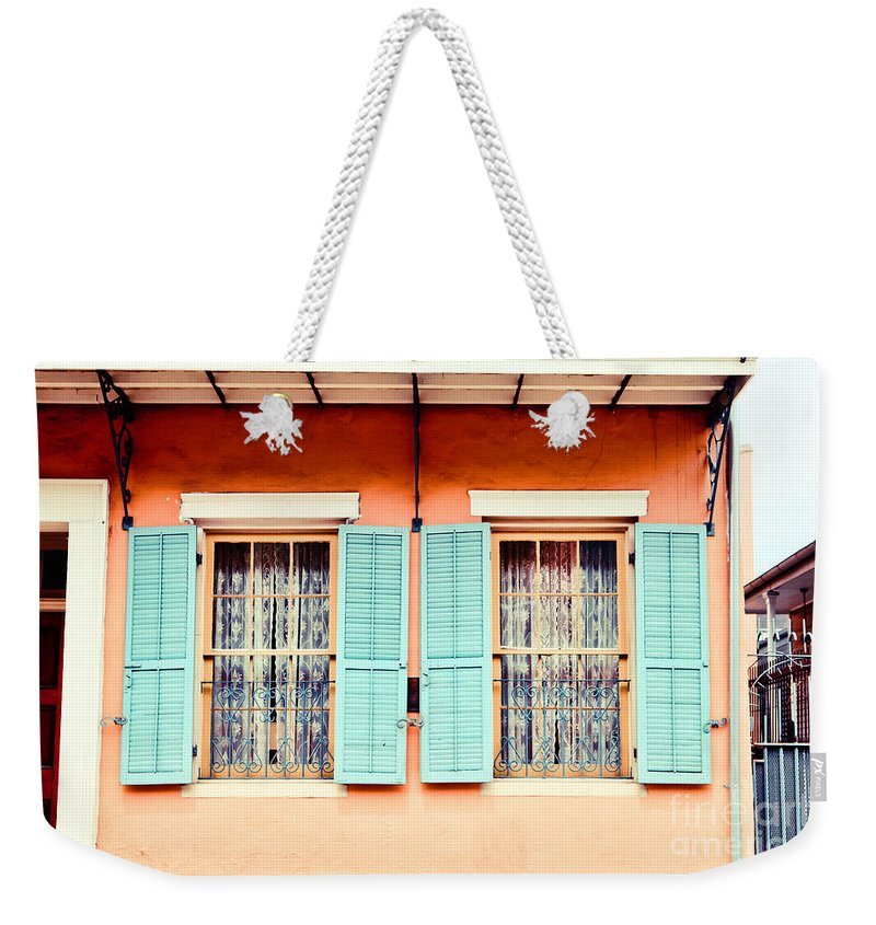 New Orleans Weekender Tote Bag featuring the photograph Aqua Shutters by Sylvia Cook