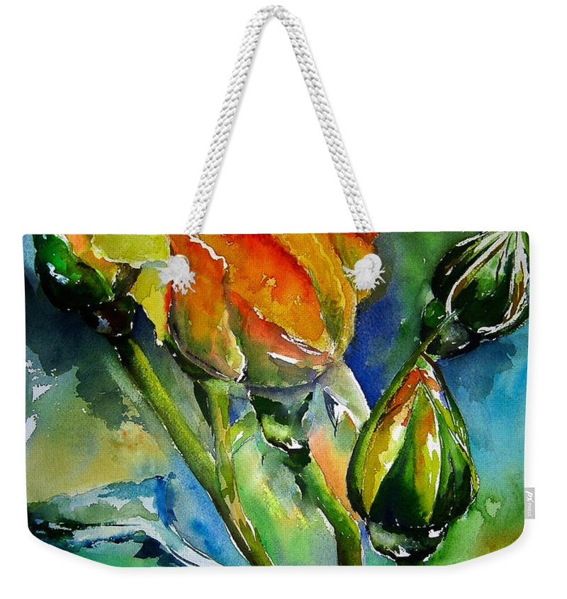Flower Weekender Tote Bag featuring the painting Aquarelle by Elise Palmigiani