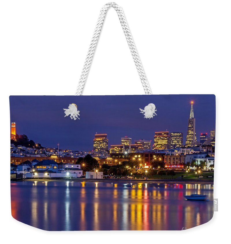 Aquatic Park Weekender Tote Bag featuring the photograph Aquatic Park Blue Hour by Kate Brown