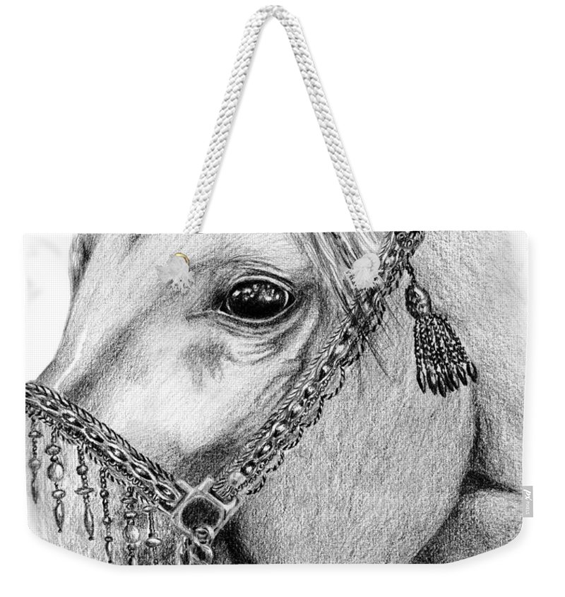 Horse Weekender Tote Bag featuring the drawing Arabian Halter by Kayleigh Semeniuk