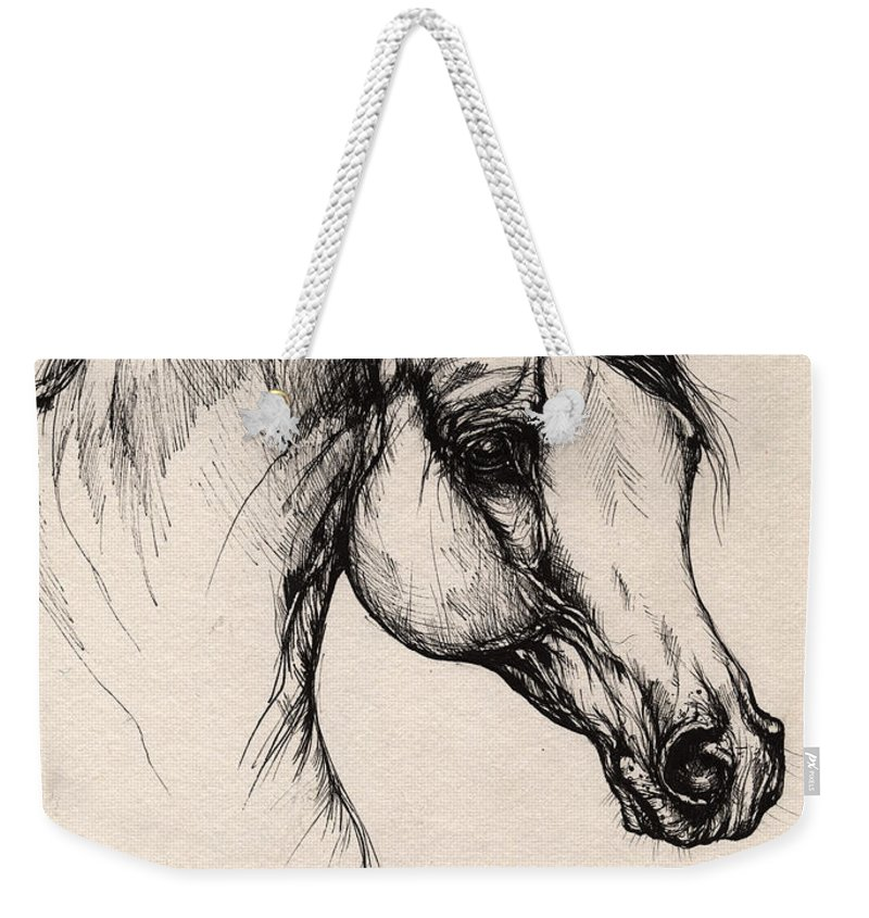 Horse Weekender Tote Bag featuring the drawing Arabian Horse Drawing 24 by Angel Ciesniarska