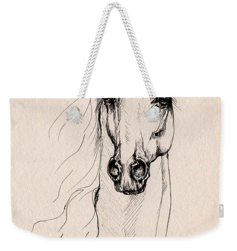 Horse Weekender Tote Bag featuring the drawing Arabian Horse Drawing 25 by Angel Ciesniarska