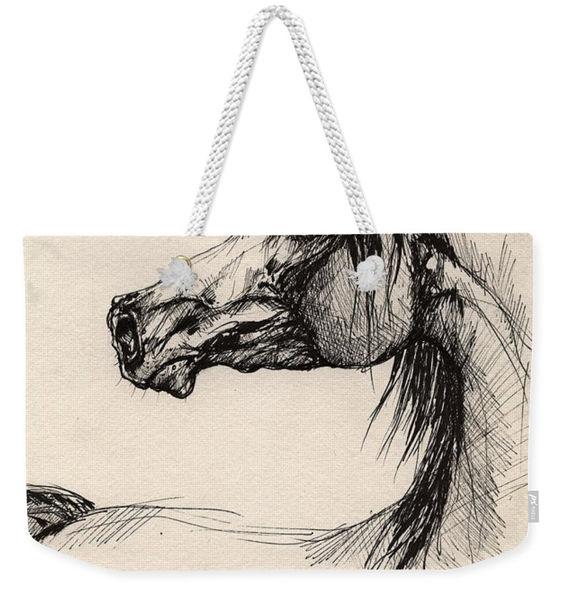 Horse Drawing Weekender Tote Bag featuring the drawing Arabian Horse Drawing 26 by Angel Ciesniarska