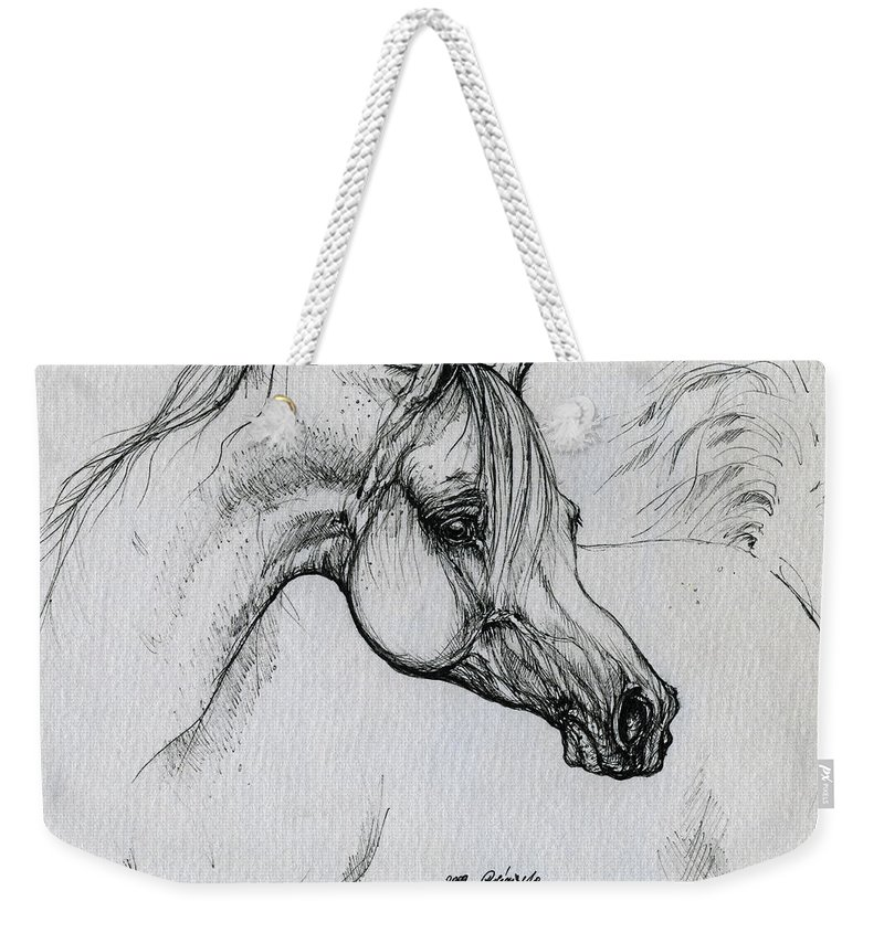 Horse Weekender Tote Bag featuring the drawing Arabian Horse Drawing 28 by Angel Ciesniarska