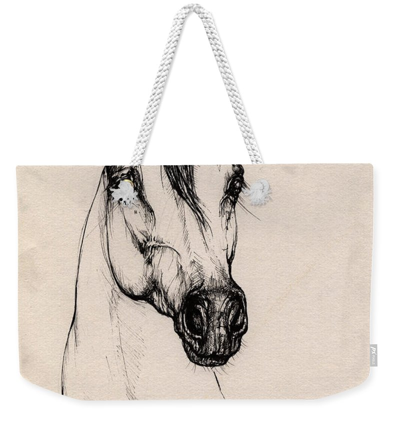 Arabian Horse Weekender Tote Bag featuring the drawing Arabian Horse Drawing 29 by Angel Ciesniarska