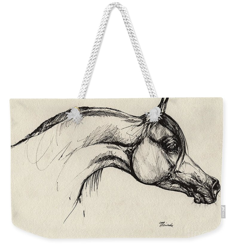 Horse Weekender Tote Bag featuring the drawing Arabian Horse Drawing 30 by Angel Ciesniarska