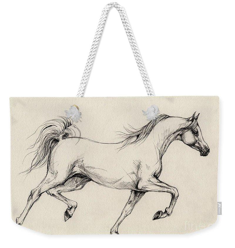 Grey Weekender Tote Bag featuring the drawing Arabian Horse Drawing 31 by Angel Tarantella