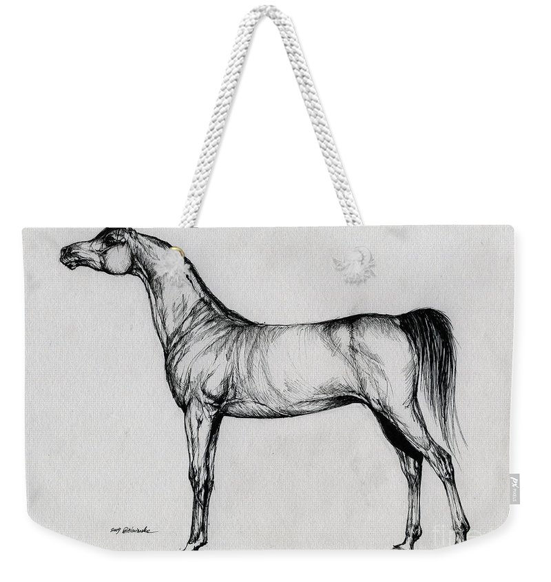 Arab Weekender Tote Bag featuring the drawing Arabian Horse Drawing 34 by Angel Tarantella