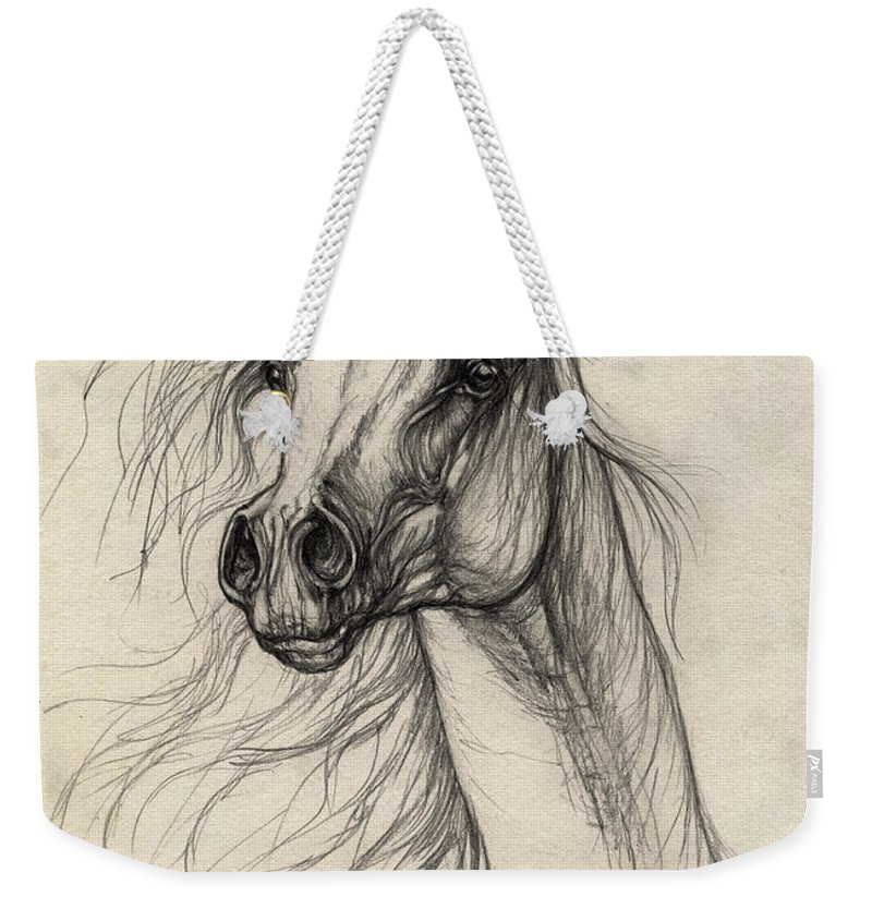 Horse Weekender Tote Bag featuring the drawing Arabian Horse Drawing 37 by Angel Tarantella