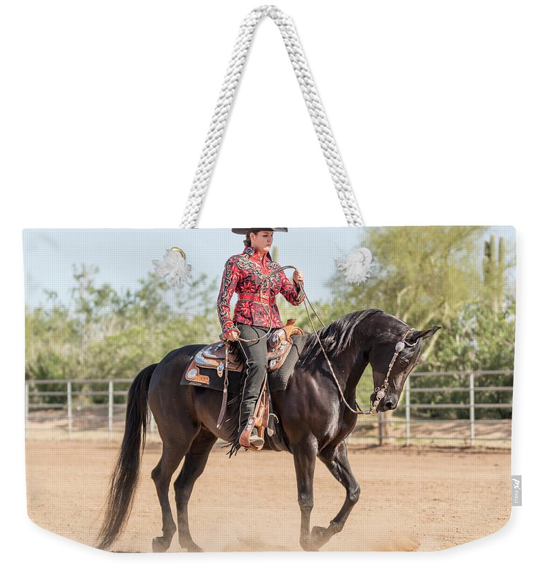 Horse Weekender Tote Bag featuring the photograph Arabian Horse With Rider Dressed For by Lokibaho