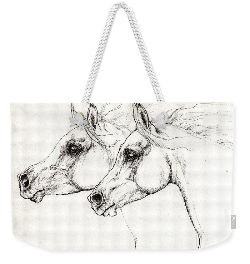 Horse Weekender Tote Bag featuring the drawing Arabian Horses 2014 02 25 by Angel Ciesniarska