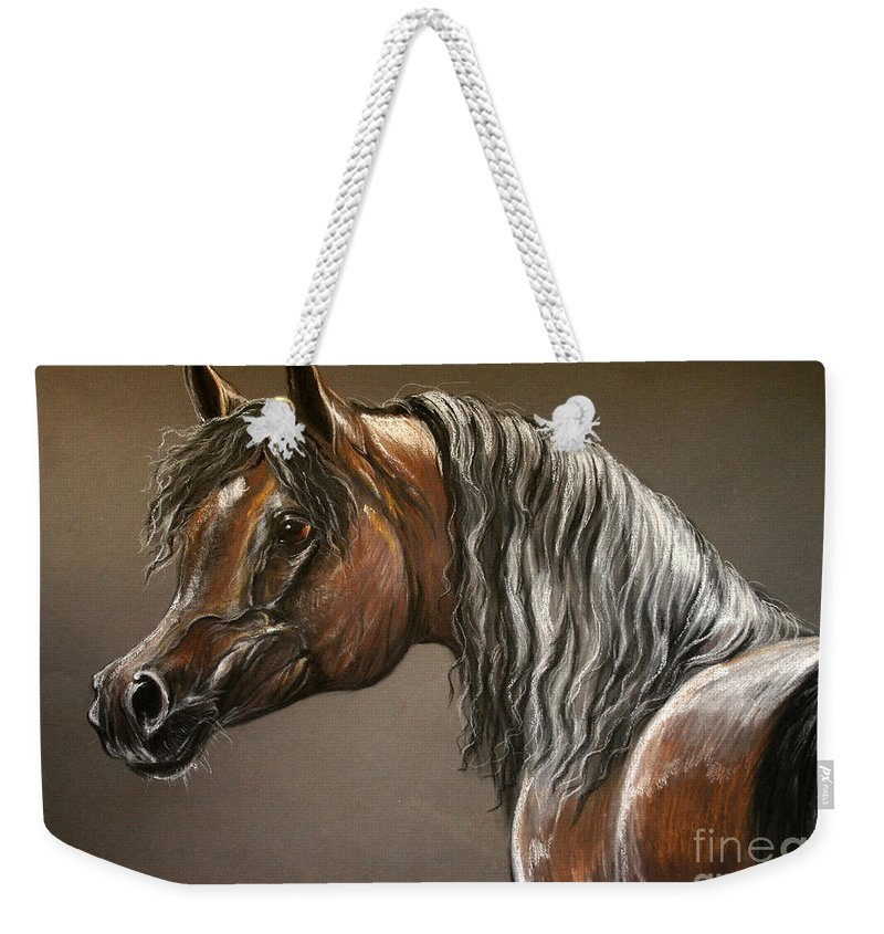 Arabian Horse Weekender Tote Bag featuring the drawing Arabian Mare by Angel Ciesniarska