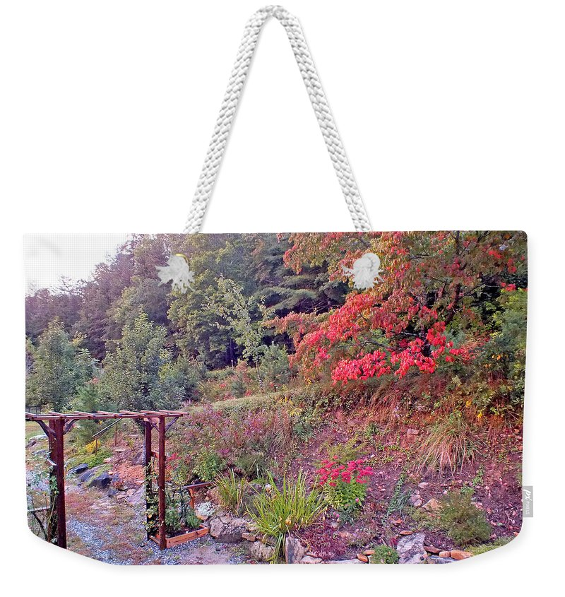 Duane Mccullough Weekender Tote Bag featuring the photograph Arbor And Fall Colors by Duane McCullough