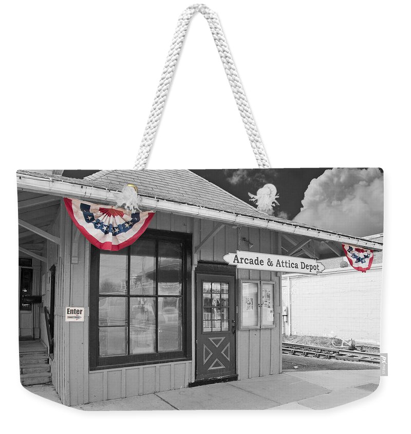 Arcade Weekender Tote Bag featuring the photograph Arcade And Attica Depot by Guy Whiteley