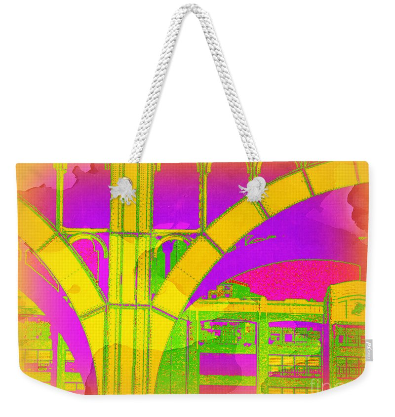 Arch; Architectural Details; Architecture Of New York; Pop Art; Stylized Photography; New York City  Architecture; Color Block; City Photography; Urban Photography; New York City Photography; Travel  Photography; Manhattan; New York City Street Scene; Miriamdanar; Miriam Danar Photography; Miriam Danar  Photographer; Abstract; Industrial Art Weekender Tote Bag featuring the photograph Arch Four - Architecture Of New York City by Miriam Danar