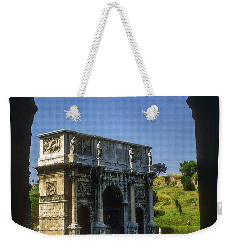Arch Of Constantine Rome Arches Car Cars Automobile Automobiles Structure Structures Architecture City Cities Cityscape Cityscapes Italy Weekender Tote Bag featuring the photograph Arch Of Constantine by Bob Phillips