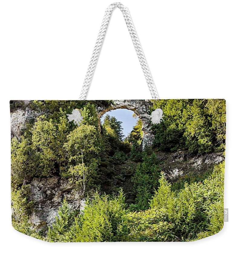 Arch Rock Mackinac Island Michigan Weekender Tote Bag featuring the photograph Arch Rock Mackinac Island Michigan by LeeAnn McLaneGoetz McLaneGoetzStudioLLCcom
