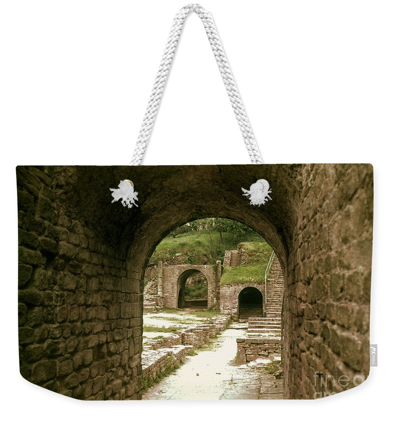 Fiesole Theatre Ruins Ruin Structure Structures Architecture Stairs Architecture Stone Arch Stones Arches Italy Weekender Tote Bag featuring the photograph Arched Entrance To Fiesole Theatre by Bob Phillips