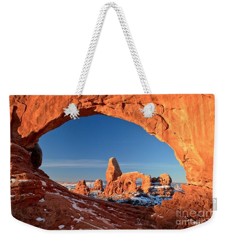 North Window Arch Weekender Tote Bag featuring the photograph Arches Window Frame by Adam Jewell