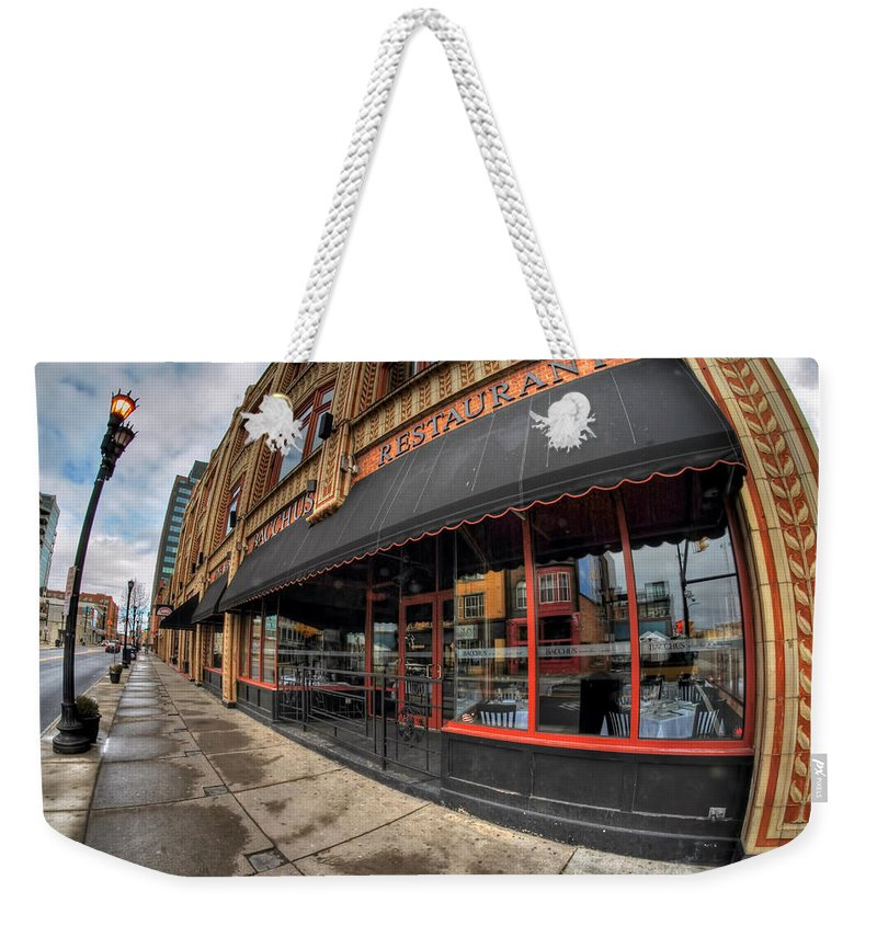 Architecture Weekender Tote Bag featuring the photograph Architecture And Places In The Q.c. Series Bacchus Restaurant by Michael Frank Jr