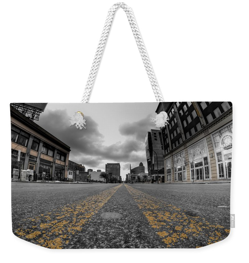 Architecture Weekender Tote Bag featuring the photograph Architecture And Places In The Q.c. Series Delaware And Chippewa by Michael Frank Jr