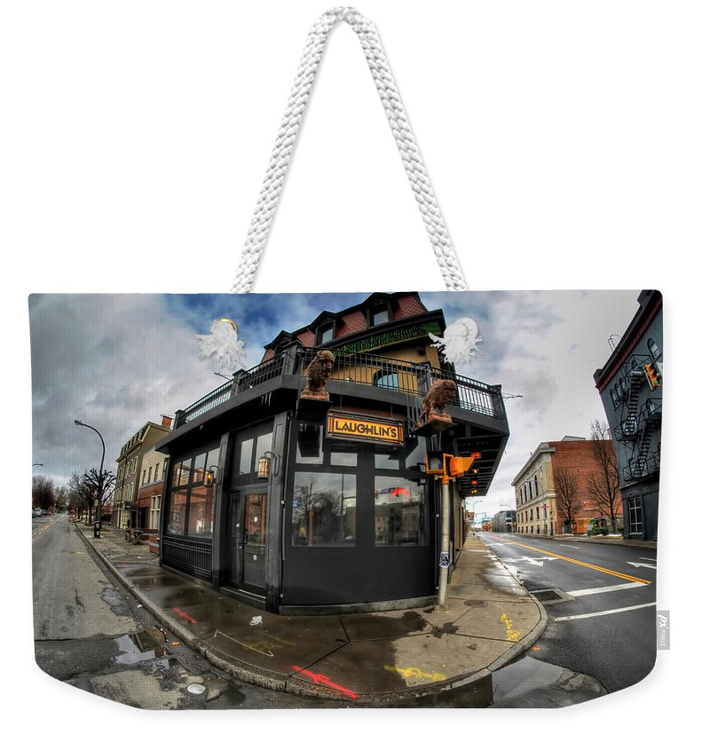 Architecture Weekender Tote Bag featuring the photograph Architecture And Places In The Q.c. Series Laughlin's by Michael Frank Jr