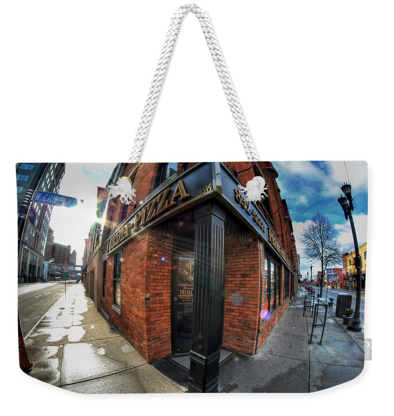 Architecture Weekender Tote Bag featuring the photograph Architecture And Places In The Q.c. Series Prima Pizza 01 by Michael Frank Jr