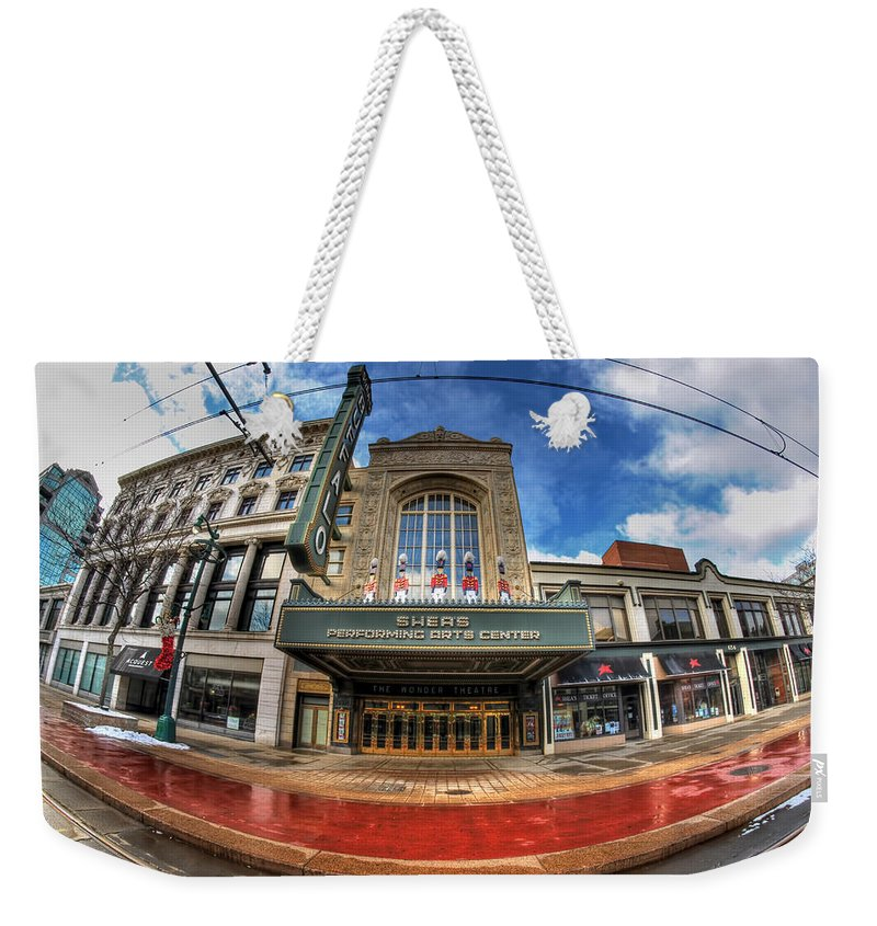 Architecture Weekender Tote Bag featuring the photograph Architecture And Places In The Q.c. Series Shea's by Michael Frank Jr