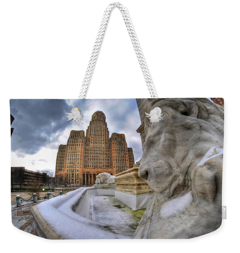 Architecture Weekender Tote Bag featuring the photograph Architecture And Places In The Q.c. Series When The Lions Rest by Michael Frank Jr