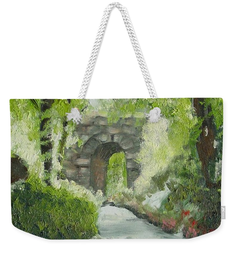 New York Weekender Tote Bag featuring the painting Archway In Central Park by Laurie Morgan