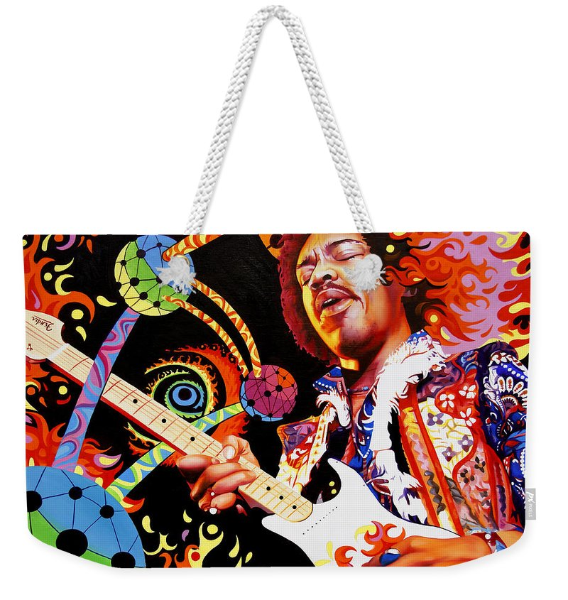 Jimi Hendrix Weekender Tote Bag featuring the painting Jimi Hendrix Are You Experienced by Joshua Morton