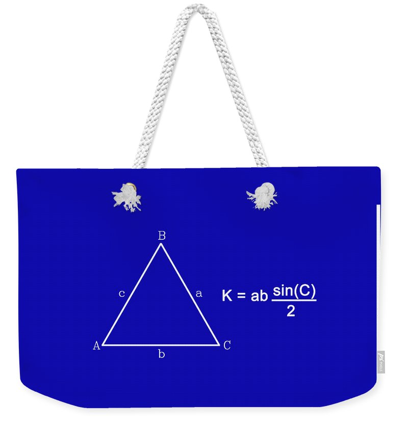 Feature Weekender Tote Bag featuring the digital art Area Of An Isosceles Triangle Dk Blue/wht by Paulette B Wright