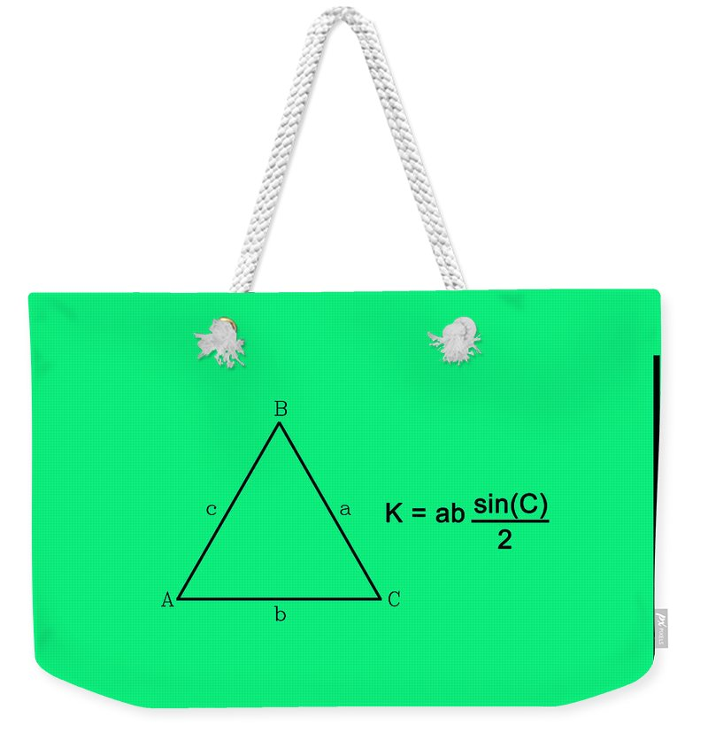 Feature Weekender Tote Bag featuring the digital art Area Of An Isosceles Triangle Green/black by Paulette B Wright
