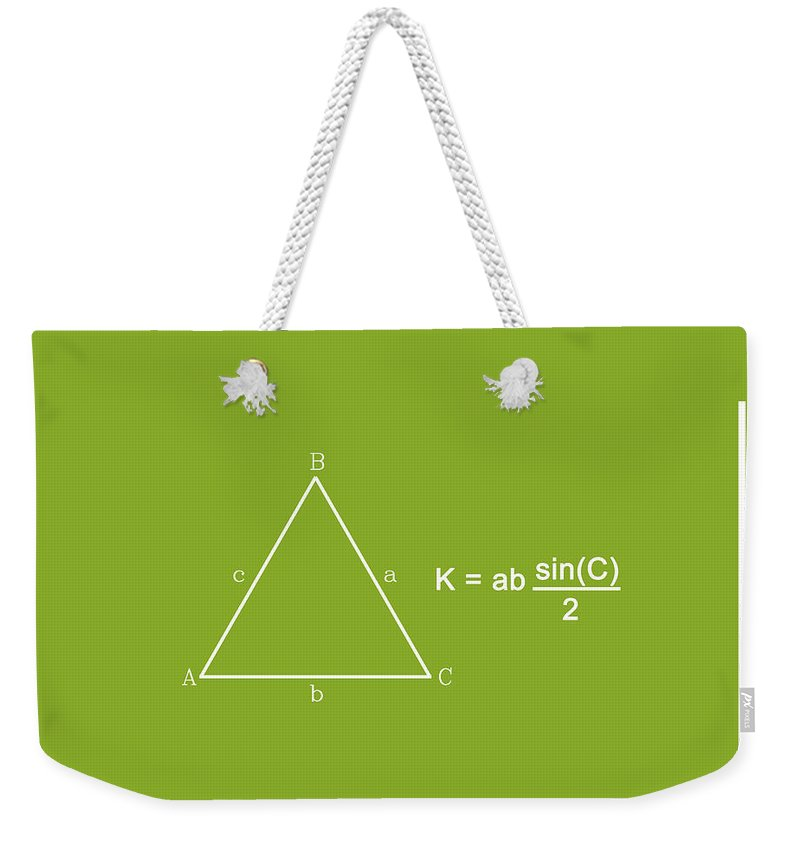 Feature Weekender Tote Bag featuring the digital art Area Of An Isosceles Triangle Lime/white by Paulette B Wright