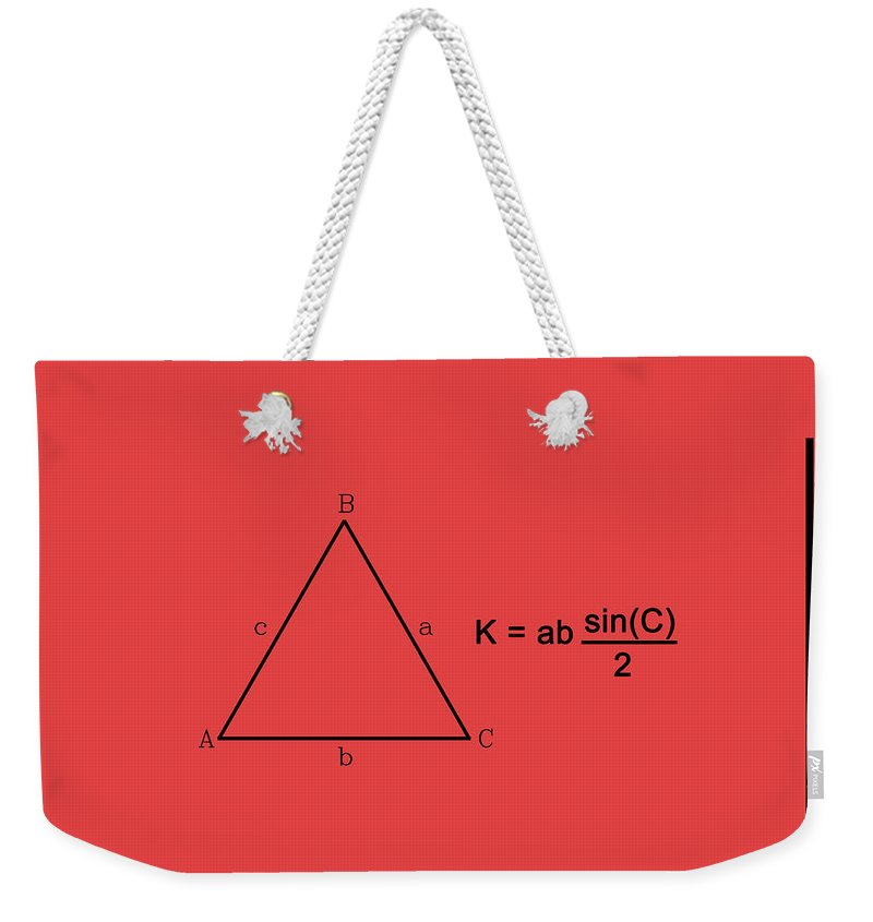 Feature Weekender Tote Bag featuring the digital art Area Of An Isosceles Triangle Red/black by Paulette B Wright