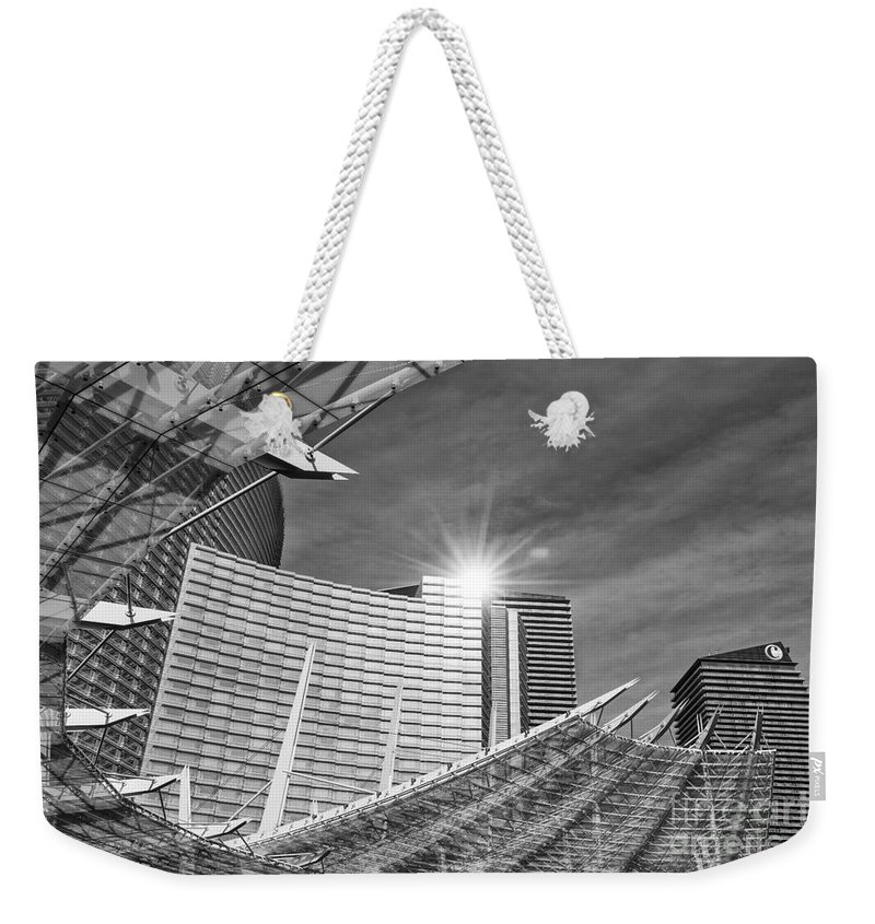 Aria Resort Weekender Tote Bag featuring the photograph Aria Sun - Aria Resort And Casino At Citycenter In Las Vegas by Jamie Pham