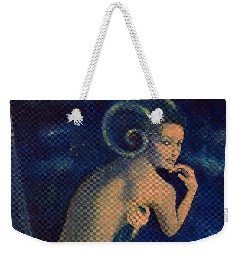 Art Weekender Tote Bag featuring the painting Aries From Zodiac Series by Dorina Costras