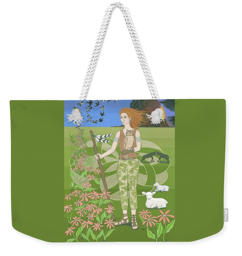 Aries Weekender Tote Bag featuring the painting Aries by Karen MacKenzie